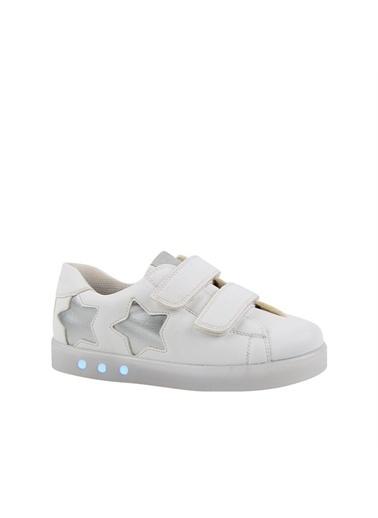 Kids A More Starbow Çift Cırtlı Işıklı n Pu Deri Kız Çocuk Ayakkabı  Beyaz